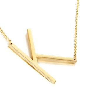 """18K Yellow Gold Plated Initial Charm Necklace """"K"""""""